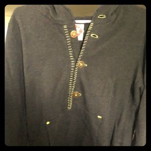 Free People Hoodie with Oversized Buttons Sz L